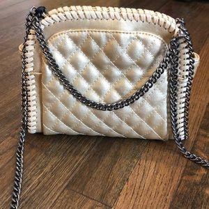 Gold Quilted Messenger Bag